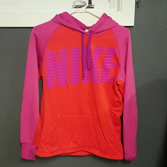 NIKE Orange and Pink Pullover Hoodie